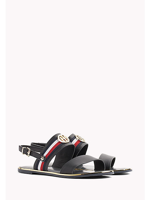 TOMMY HILFIGER Open Toe Leather Sandals - MIDNIGHT - TOMMY HILFIGER Flat Sandals - main image