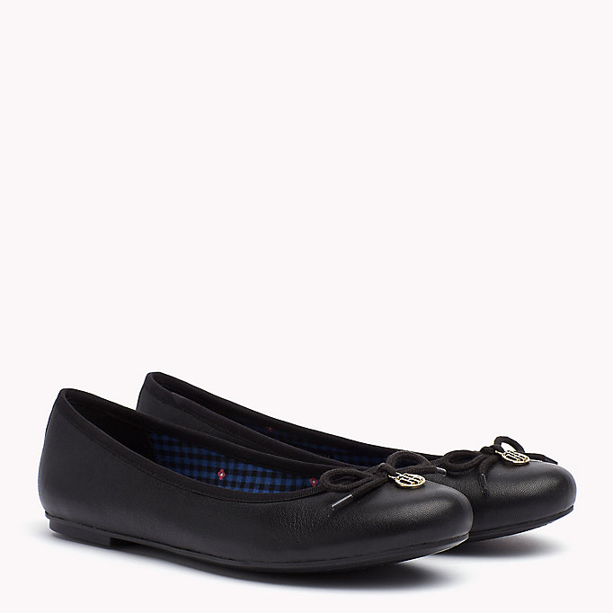 TOMMY HILFIGER Leather Ballerina Shoes - WHISPER WHITE - TOMMY HILFIGER SHOES - main image