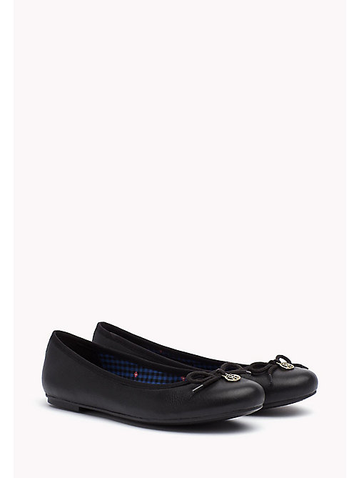 TOMMY HILFIGER Leather Ballerina Shoes - BLACK - TOMMY HILFIGER Ballerines - image principale