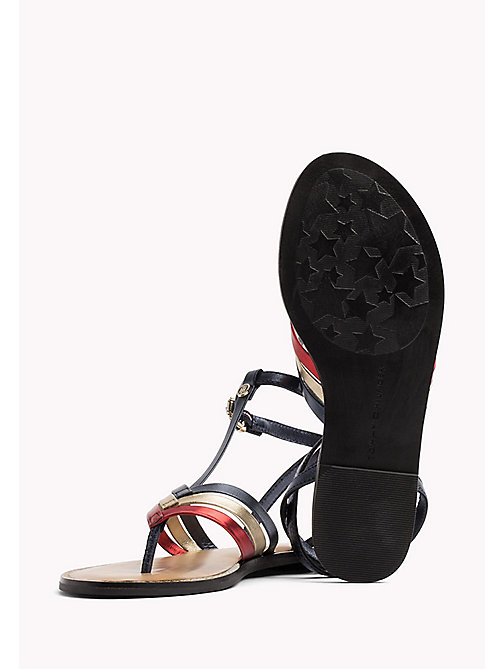 TOMMY HILFIGER Strappy T-Bar Leather Sandals - RWB - TOMMY HILFIGER VACATION FOR HER - detail image 1