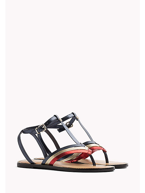TOMMY HILFIGER Strappy T-Bar Leather Sandals - RWB - TOMMY HILFIGER Flat Sandals - main image