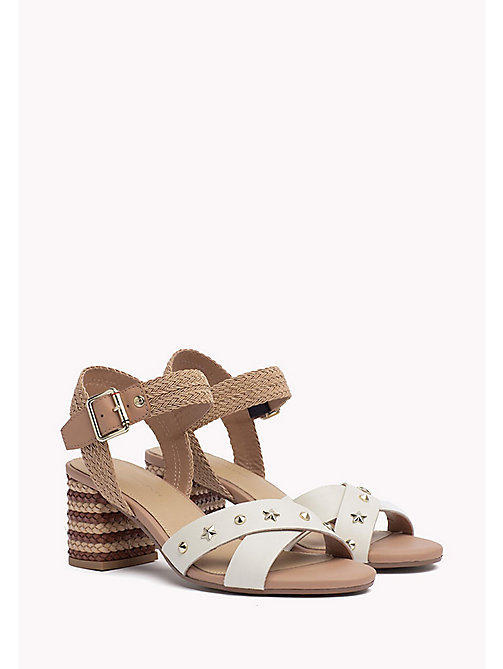 TOMMY HILFIGER Braided Leather Heel Sandals - WHISPER WHITE - TOMMY HILFIGER Heeled Sandals - main image