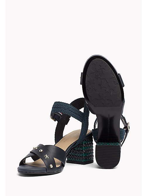 TOMMY HILFIGER Braided Leather Heel Sandals - MIDNIGHT - TOMMY HILFIGER Shoes - detail image 1