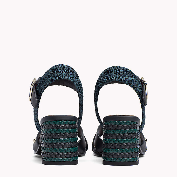 TOMMY HILFIGER Braided Leather Heel Sandals - WHISPER WHITE - TOMMY HILFIGER SHOES - detail image 2