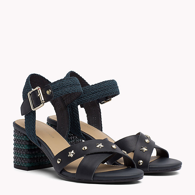 TOMMY HILFIGER Braided Leather Heel Sandals - WHISPER WHITE - TOMMY HILFIGER SHOES - main image