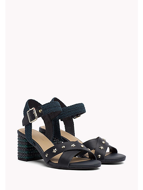TOMMY HILFIGER Braided Leather Heel Sandals - MIDNIGHT - TOMMY HILFIGER Shoes - main image