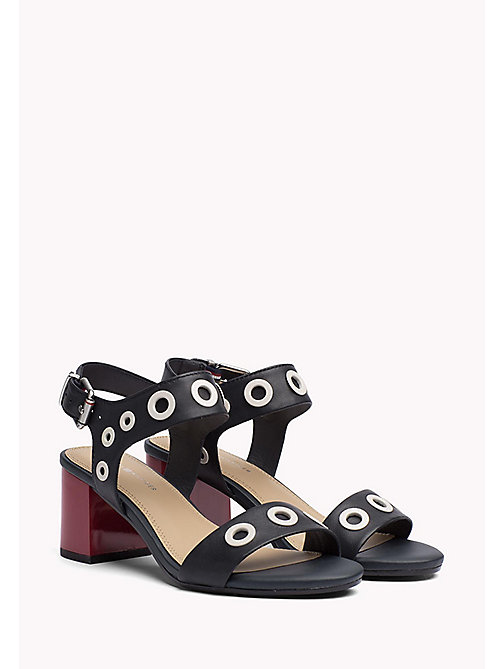 TOMMY HILFIGER Eyelet Mid Heel Sandals - MIDNIGHT - TOMMY HILFIGER Heeled Sandals - main image