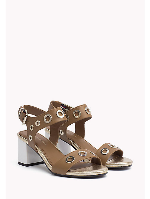 TOMMY HILFIGER Eyelet Leather Block Sandals - SUMMER COGNAC - TOMMY HILFIGER Heeled Sandals - main image