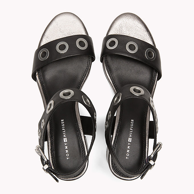 TOMMY HILFIGER Eyelet Leather Block Sandals - SUMMER COGNAC - TOMMY HILFIGER Women - detail image 3