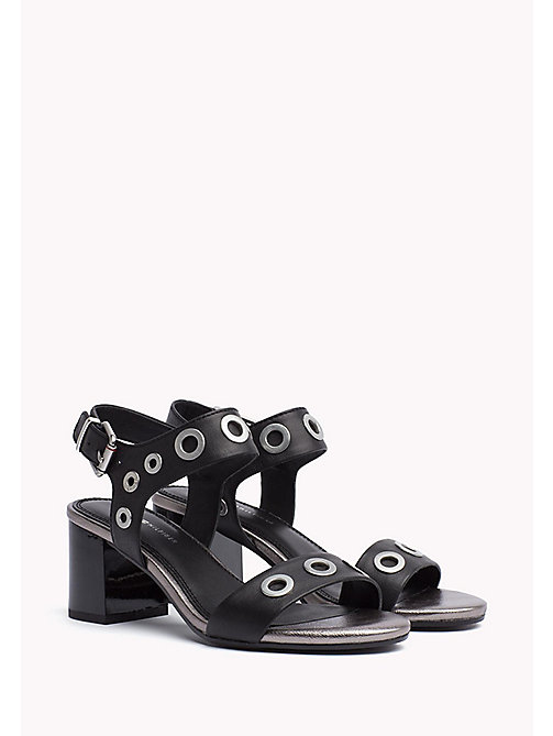 TOMMY HILFIGER Eyelet Leather Block Sandals - BLACK - TOMMY HILFIGER Heeled Sandals - main image