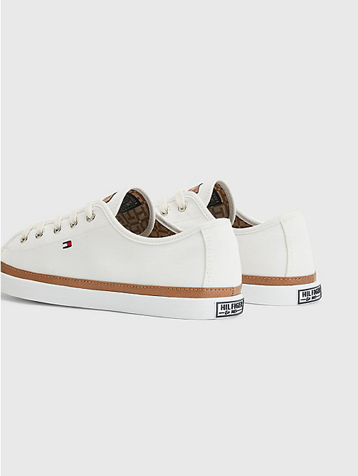 Classic Low Top Canvas Trainers - WHISPER WHITE - TOMMY HILFIGER Shoes - detail image 1
