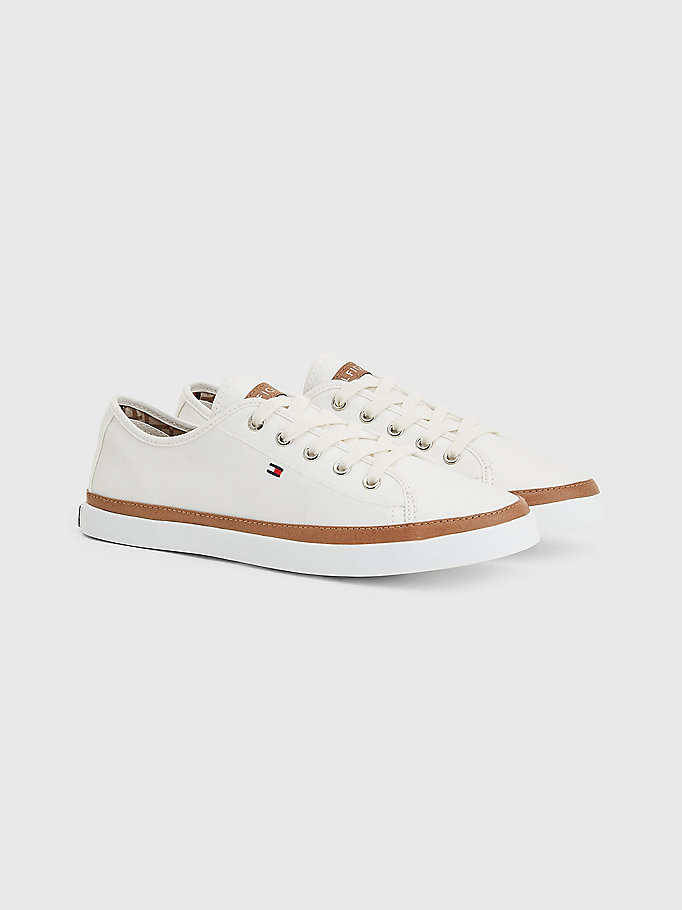 white iconic logo trainers for women tommy hilfiger