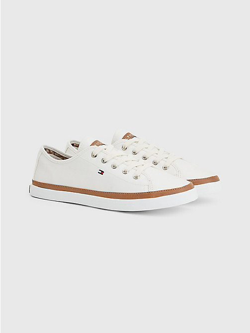 Classic Low Top Canvas Trainers - WHISPER WHITE - TOMMY HILFIGER Shoes - main image