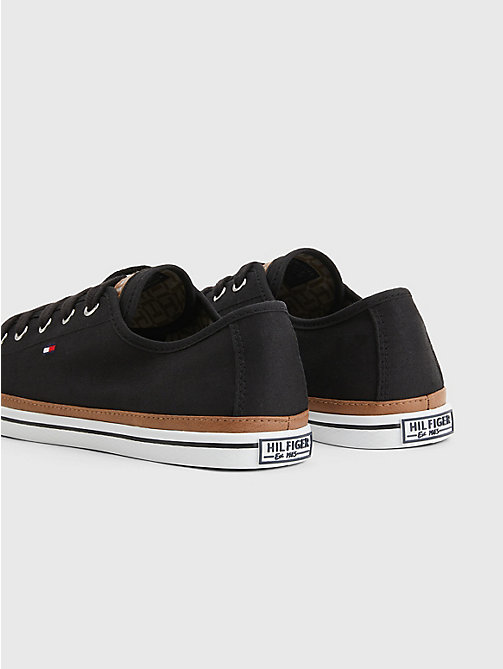Classic Low Top Canvas Trainers - BLACK - TOMMY HILFIGER Shoes - detail image 1