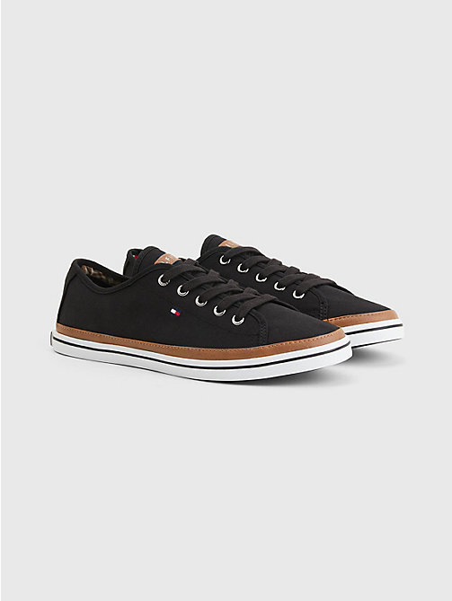 Classic Low Top Canvas Trainers - BLACK - TOMMY HILFIGER Shoes - main image