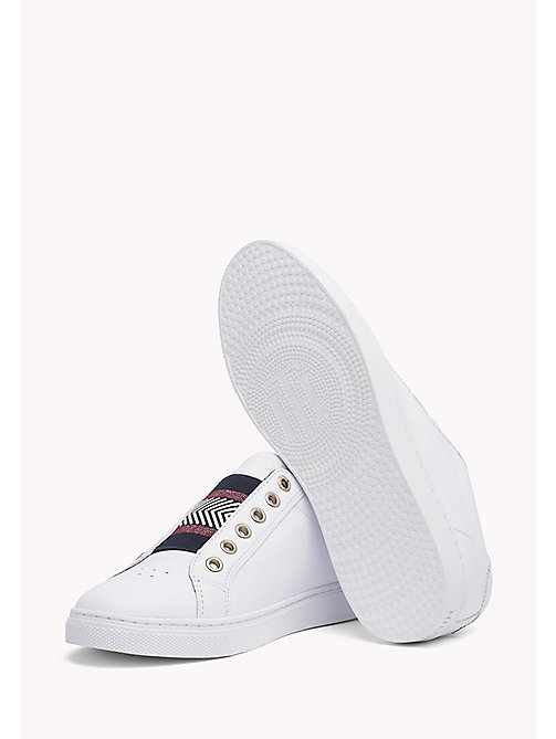 Leather Elasticated Trainers - WHITE - TOMMY HILFIGER SHOES - detail image 1