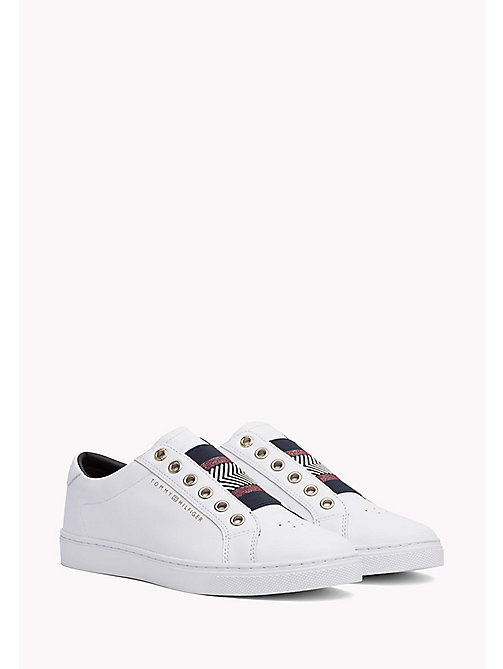 Leather Elasticated Trainers - WHITE - TOMMY HILFIGER CHAUSSURES - image principale