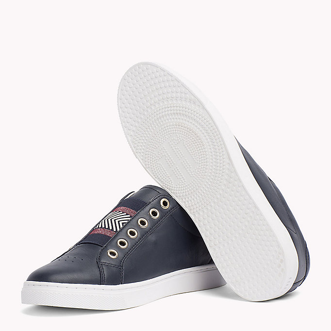 TOMMY HILFIGER Leather Elasticated Trainers - MAHOGANY ROSE - TOMMY HILFIGER SCHUHE - main image 1