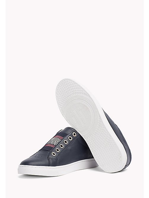Leather Elasticated Trainers - MIDNIGHT - TOMMY HILFIGER Shoes - detail image 1