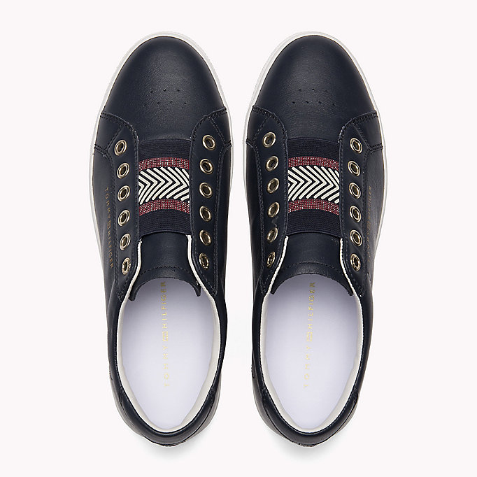 TOMMY HILFIGER Leather Elasticated Trainers - MAHOGANY ROSE - TOMMY HILFIGER SCHUHE - main image 3