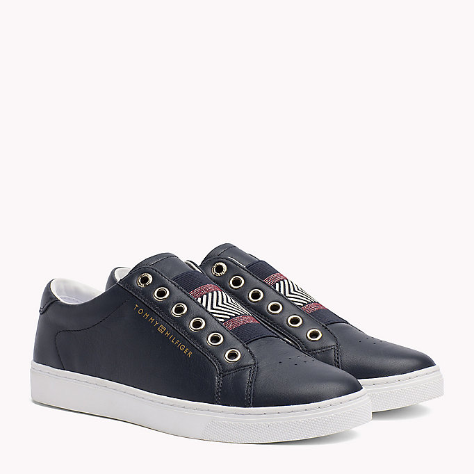 TOMMY HILFIGER Leather Elasticated Trainers - MAHOGANY ROSE - TOMMY HILFIGER SCHUHE - main image