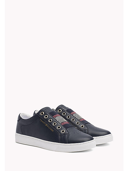 Leather Elasticated Trainers - MIDNIGHT - TOMMY HILFIGER Schoenen - main image