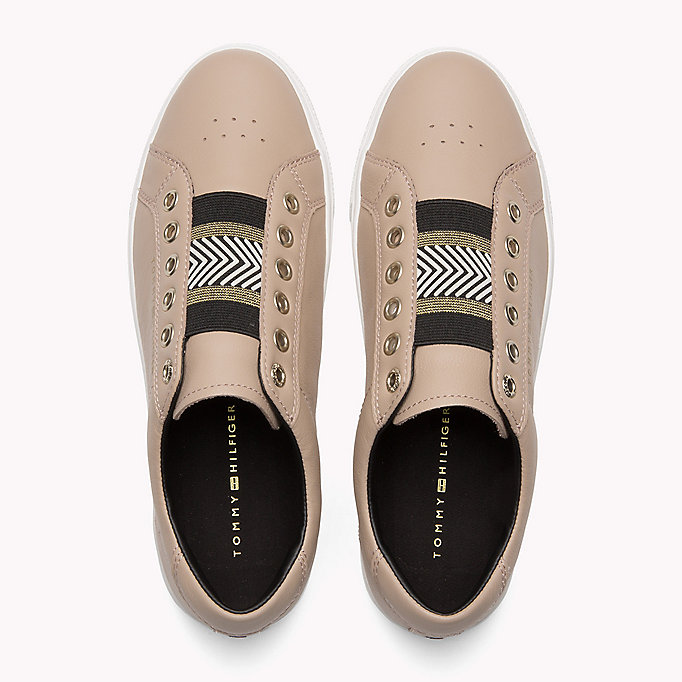 TOMMY HILFIGER Leather Elasticated Trainers - WHITE - TOMMY HILFIGER SCHUHE - main image 3