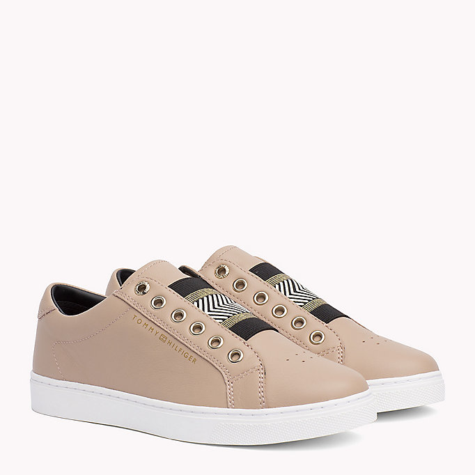 TOMMY HILFIGER Leather Elasticated Trainers - WHITE - TOMMY HILFIGER ZAPATOS - imagen principal