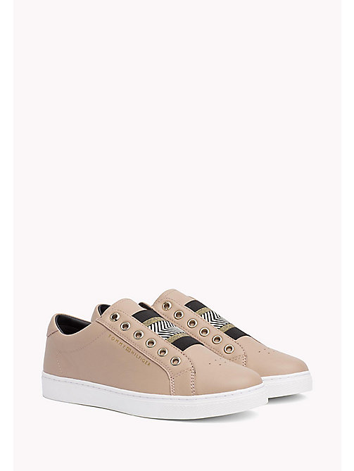 Leather Elasticated Trainers - MAHOGANY ROSE - TOMMY HILFIGER SHOES - main image