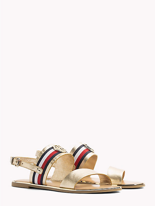 TOMMY HILFIGER Metallic Leather Sandals - MEKONG - TOMMY HILFIGER Flat Sandals - main image