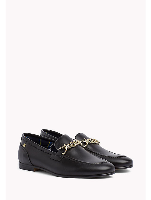 Chain Detail Leather Loafers - BLACK - TOMMY HILFIGER Shoes - main image
