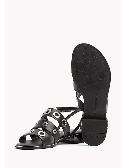 TOMMY HILFIGER Strappy Leather Eyelet Sandals - BLACK - TOMMY HILFIGER Flat Sandals - detail image 1