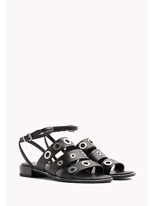TOMMY HILFIGER Strappy Leather Eyelet Sandals - BLACK - TOMMY HILFIGER Flat Sandals - main image
