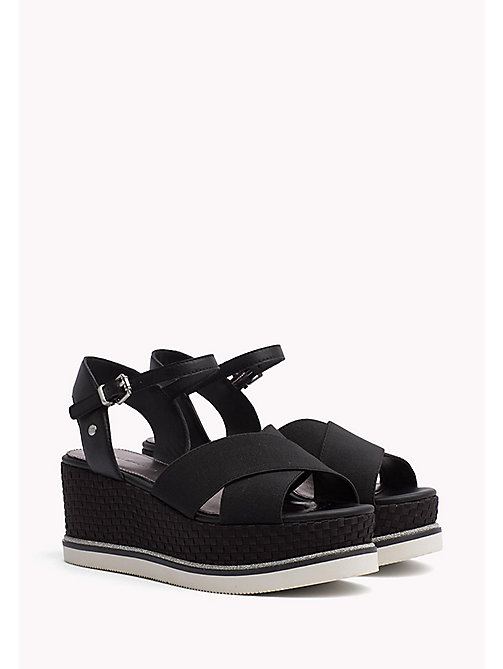 TOMMY HILFIGER Flatform Woven Heel Sandals - BLACK - TOMMY HILFIGER Shoes - main image
