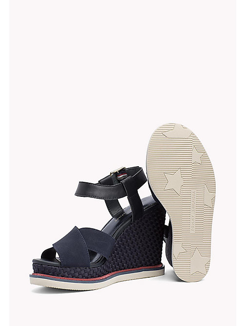 TOMMY HILFIGER Elastic Strap Wedge Heels - MIDNIGHT - TOMMY HILFIGER Wedges - detail image 1