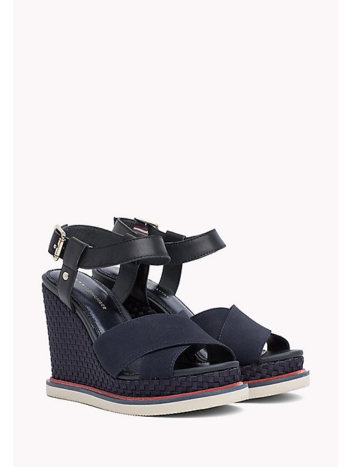 TOMMY HILFIGER Elastic Strap Wedge Heels - MIDNIGHT - TOMMY HILFIGER Wedges - main image
