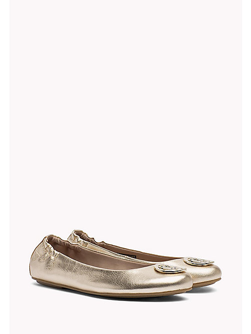 TOMMY HILFIGER Gold Leather Ballerina Shoes - MEKONG - TOMMY HILFIGER Ballerina Shoes - main image