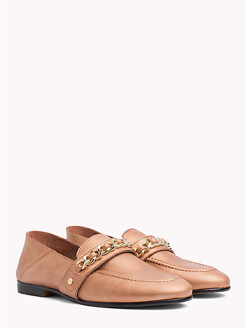 TOMMY HILFIGER Chain Detail Leather Loafers - SUMMER COGNAC - TOMMY HILFIGER Shoes - main image