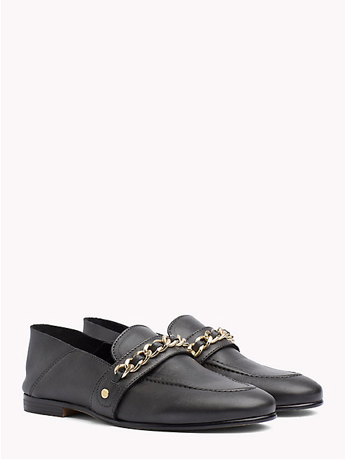TOMMY HILFIGER Chain Detail Leather Loafers - BLACK - TOMMY HILFIGER NEW IN - main image