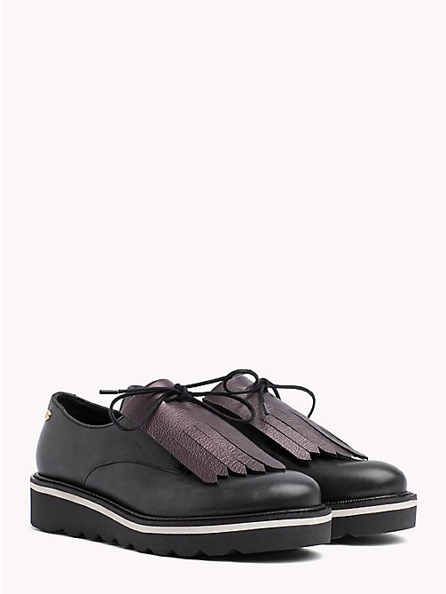 TOMMY HILFIGER Metallic Leather Removable Fringe Lace-Up - BLACK - TOMMY HILFIGER Flat Shoes - main image