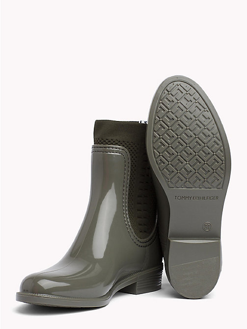 TOMMY HILFIGER Knitted Rain Boots - DUSTY OLIVE - TOMMY HILFIGER Wellies - detail image 1