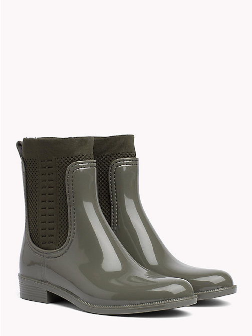 TOMMY HILFIGER Knitted Rain Boots - DUSTY OLIVE - TOMMY HILFIGER Wellies - main image