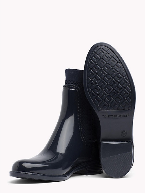 TOMMY HILFIGER Knitted Rain Boots - MIDNIGHT - TOMMY HILFIGER Wellies - detail image 1