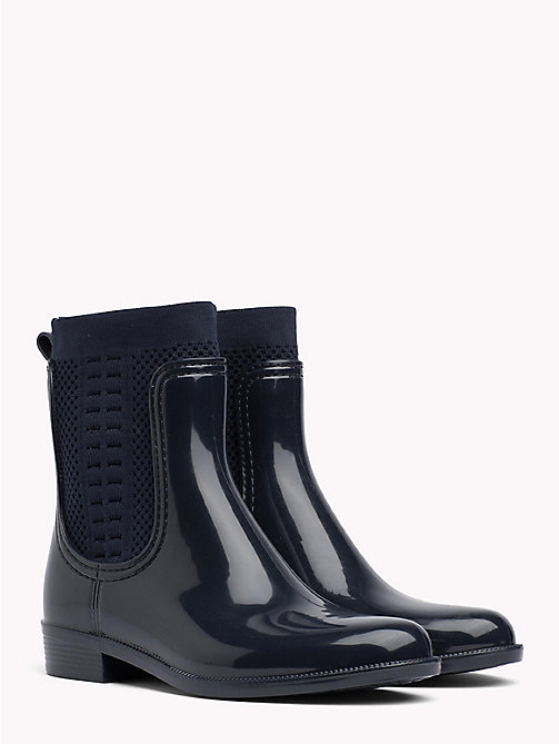 TOMMY HILFIGER Knitted Rain Boots - MIDNIGHT - TOMMY HILFIGER Wellies - main image