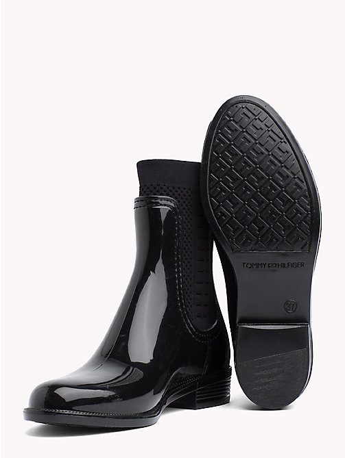 TOMMY HILFIGER Knitted Rain Boots - BLACK - TOMMY HILFIGER Shoes - detail image 1