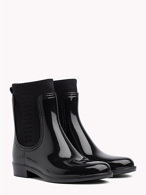 TOMMY HILFIGER Knitted Rain Boots - BLACK - TOMMY HILFIGER Wellies - main image