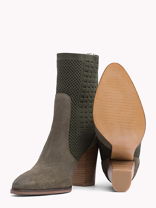 TOMMY HILFIGER Knitted Suede Heeled Boots - DUSTY OLIVE - TOMMY HILFIGER Shoes - detail image 1