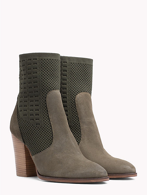 TOMMY HILFIGER Knitted Suede Heeled Boots - DUSTY OLIVE - TOMMY HILFIGER NEW IN - main image