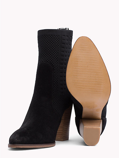 TOMMY HILFIGER Knitted Suede Heeled Boots - BLACK - TOMMY HILFIGER NEW IN - detail image 1