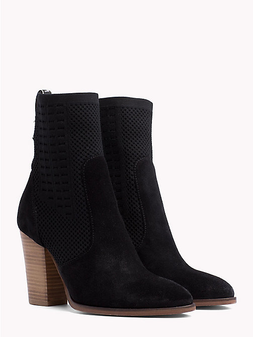 TOMMY HILFIGER Knitted Suede Heeled Boots - BLACK - TOMMY HILFIGER Shoes - main image